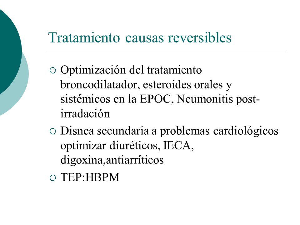 Tratamiento III:Benzodiacepinas -La mayoría de los estudios muestran que se toleran mal y no son eficaces significativamente(alprazolam, diazepan, clorazepato,midazolam) -Midazolam junto con morfina en un estudio reciente en pacientes con cáncer avanzado mejoran el alivio de la disnea -Si ansiedad asociada: lorazepam 0,5-1 mg cada 4-12 horas o a demanda American Thoracic Society.Am J Respir Crit Care Med 2001;163:951-7 Support Care Cancer 2008;16(4):329-337 Navigante et al.JPSM 2006;31:38_47 Revisión Cochrane 2010 Jan 20(1) Navigante et al JPMS 2010;39:820-30