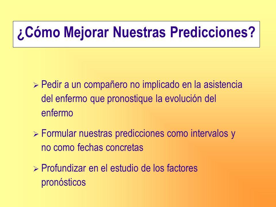 Pedir a un compañero no implicado en la asistencia del enfermo que pronostique la evolución del enfermo Formular nuestras predicciones como intervalos