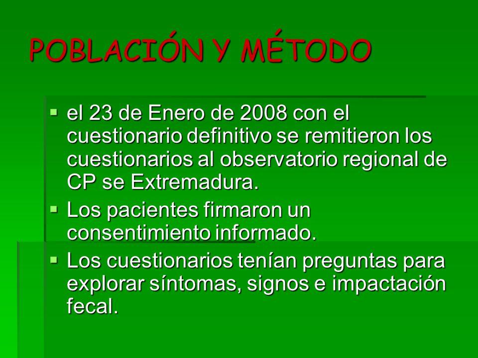 POBLACIÓN Y MÉTODO el 23 de Enero de 2008 con el cuestionario definitivo se remitieron los cuestionarios al observatorio regional de CP se Extremadura