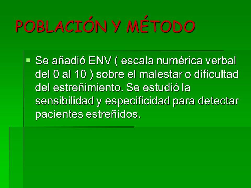 POBLACIÓN Y MÉTODO Se añadió ENV ( escala numérica verbal del 0 al 10 ) sobre el malestar o dificultad del estreñimiento. Se estudió la sensibilidad y
