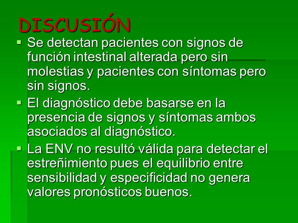 DISCUSIÓN Se detectan pacientes con signos de función intestinal alterada pero sin molestias y pacientes con síntomas pero sin signos. Se detectan pac