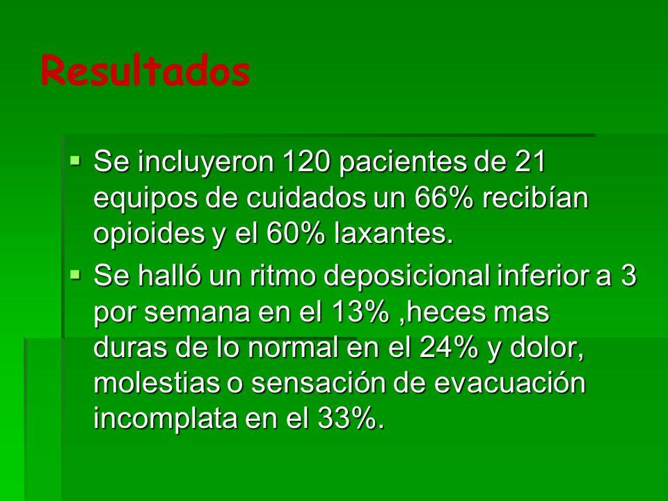 Resultados De los pacientes estudiados el 13% tenían signos de estreñimiento habitual pero no había síntomas, otros el 17% tenían molestias pero no signos de estreñimiento.