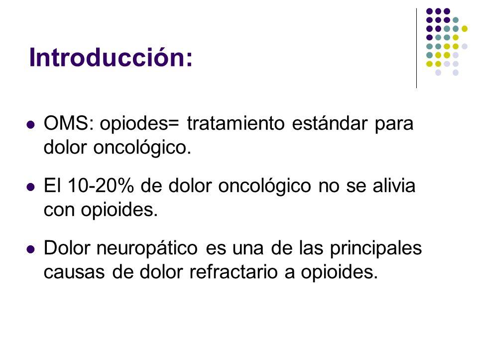 Introducción II: Dolor neuropático oncológico: Definición: Resultado de lesión del nervio por: compresión tumoral terapia oncológica (quimioterapia, cirugía o radioterapia) con al menos uno de los siguientes síntomas: alteración sensorial continua (disestesia, hiperestesia, alodinia, dolor quemante) o dolor incidental (punzante,lancinante).