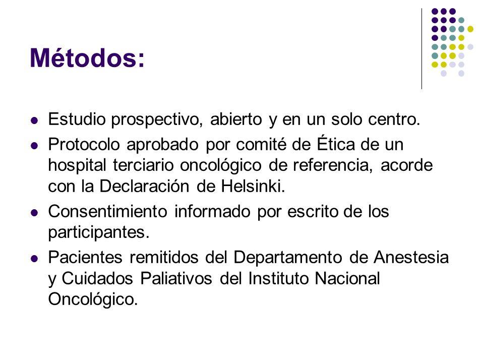 Métodos: Estudio prospectivo, abierto y en un solo centro. Protocolo aprobado por comité de Ética de un hospital terciario oncológico de referencia, a