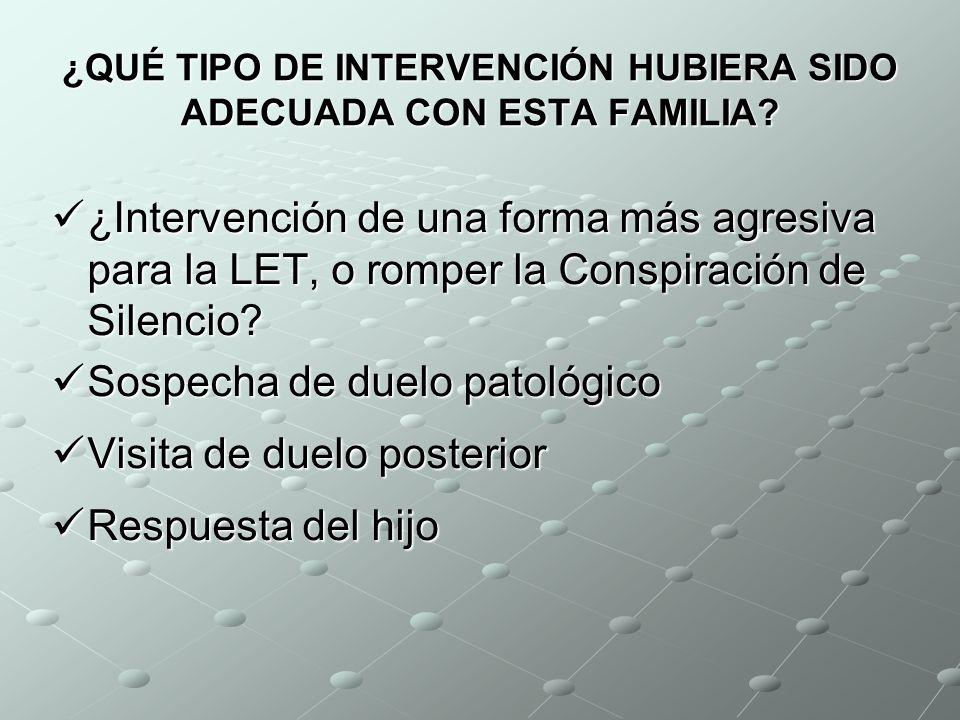 SITUACIÓN SOCIO-FAMILIAR (2) Hijo: Hijo: Vive en domicilio familiar Vive en domicilio familiar Baja laboral: síndrome depresivo Baja laboral: síndrome
