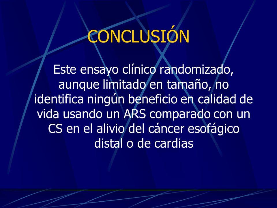 CONCLUSIÓN Este ensayo clínico randomizado, aunque limitado en tamaño, no identifica ningún beneficio en calidad de vida usando un ARS comparado con un CS en el alivio del cáncer esofágico distal o de cardias