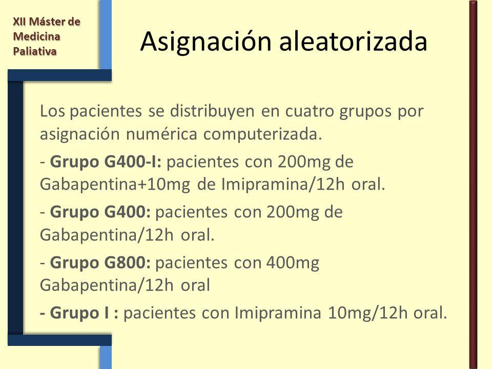 XII Máster de Medicina Paliativa Asignación aleatorizada Los pacientes se distribuyen en cuatro grupos por asignación numérica computerizada. - Grupo