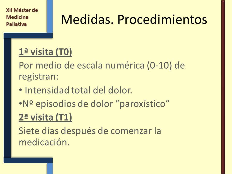 XII Máster de Medicina Paliativa Medidas. Procedimientos 1ª visita (T0) Por medio de escala numérica (0-10) de registran: Intensidad total del dolor.