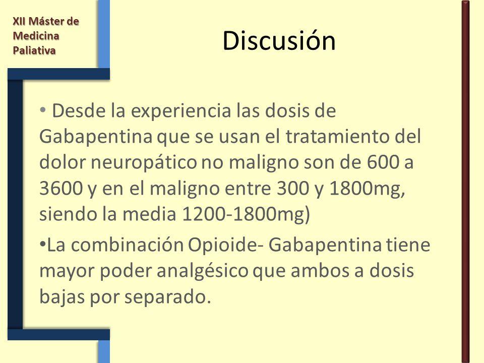 XII Máster de Medicina Paliativa Discusión Desde la experiencia las dosis de Gabapentina que se usan el tratamiento del dolor neuropático no maligno s