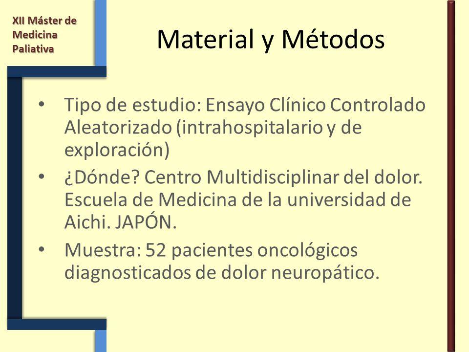 XII Máster de Medicina Paliativa Material y Métodos Tipo de estudio: Ensayo Clínico Controlado Aleatorizado (intrahospitalario y de exploración) ¿Dónd