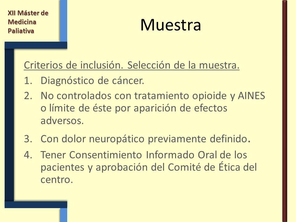 XII Máster de Medicina Paliativa Muestra Criterios de inclusión. Selección de la muestra. 1.Diagnóstico de cáncer. 2.No controlados con tratamiento op