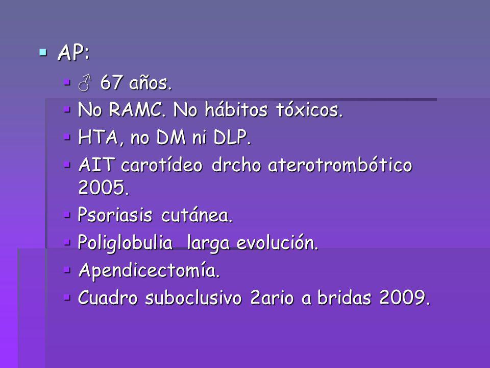 AP: AP: 67 años. 67 años. No RAMC. No hábitos tóxicos. No RAMC. No hábitos tóxicos. HTA, no DM ni DLP. HTA, no DM ni DLP. AIT carotídeo drcho aterotro