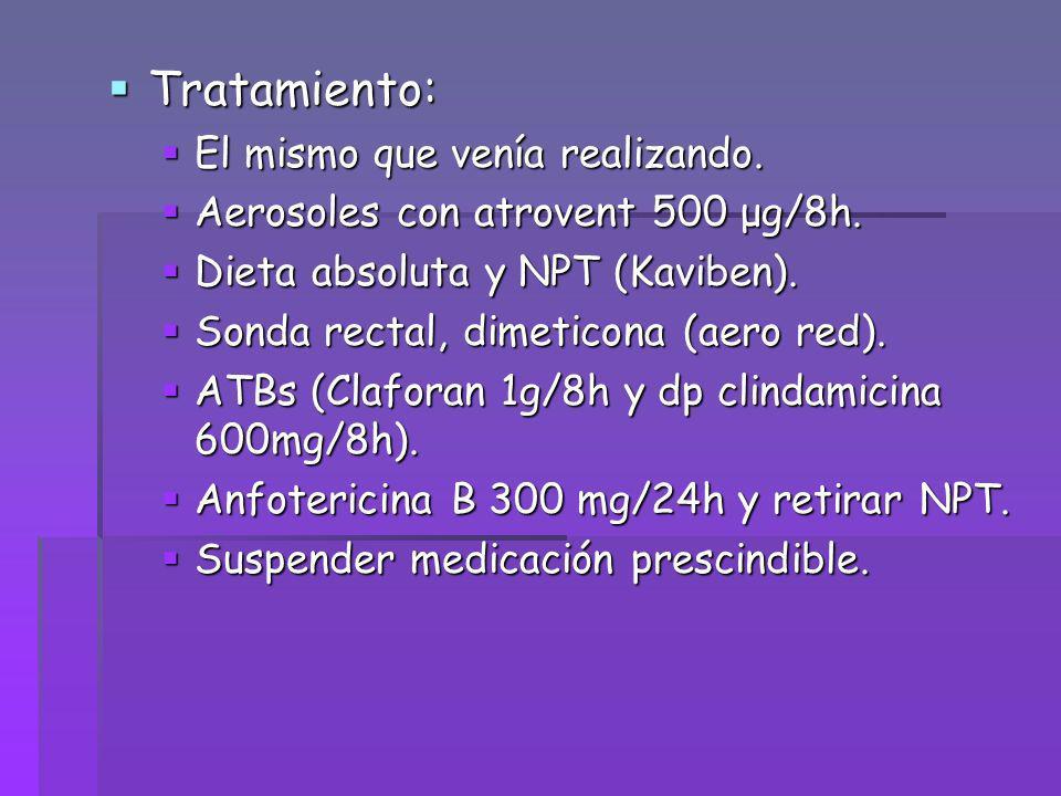Tratamiento: Tratamiento: El mismo que venía realizando. El mismo que venía realizando. Aerosoles con atrovent 500 μg/8h. Aerosoles con atrovent 500 μ