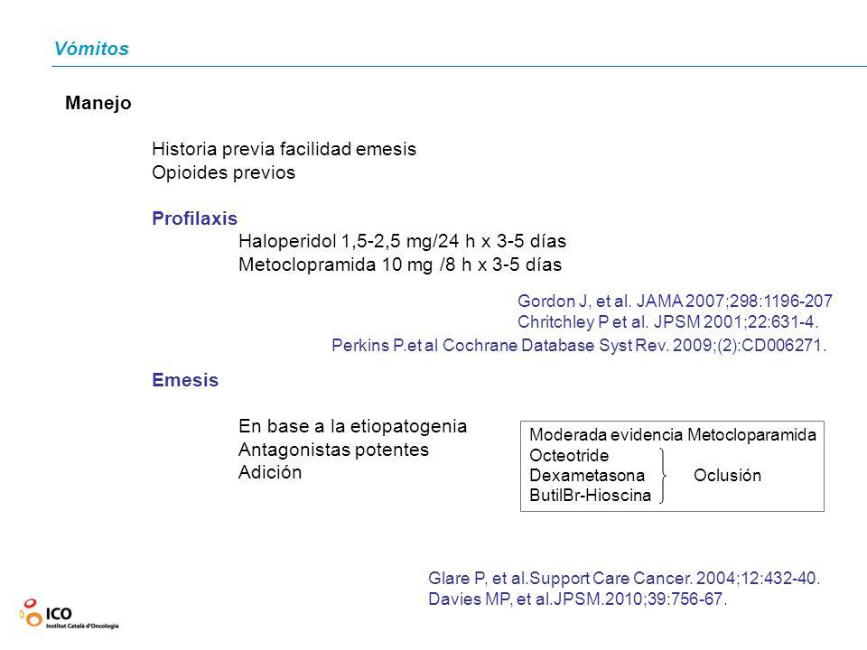 Vómitos Manejo Historia previa facilidad emesis Opioides previos Profilaxis Haloperidol 1,5-2,5 mg/24 h x 3-5 días Metoclopramida 10 mg /8 h x 3-5 día