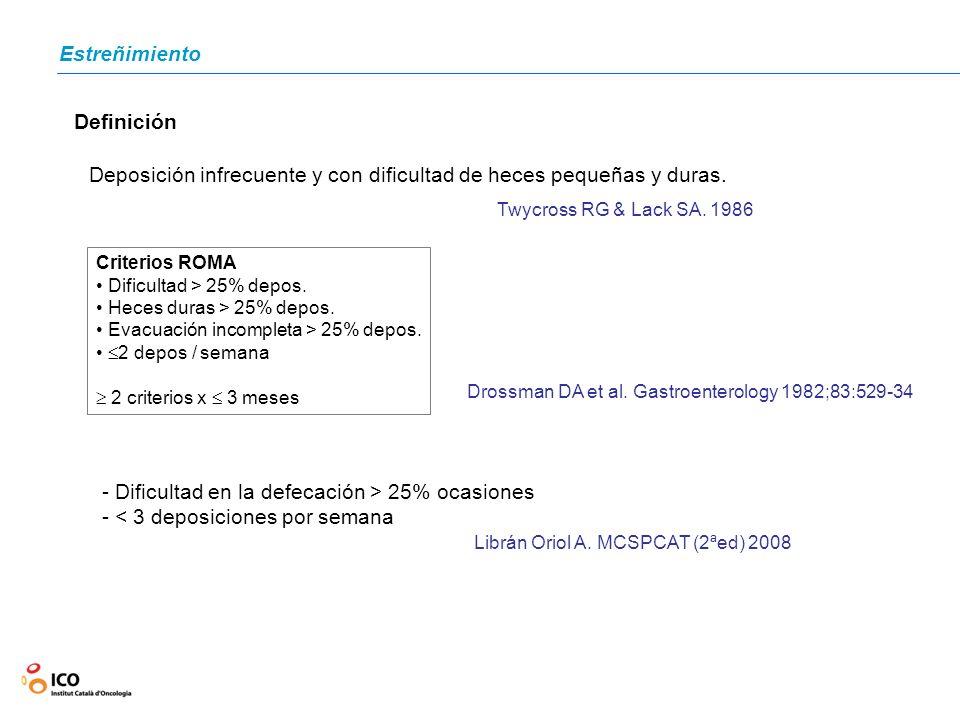Definición Deposición infrecuente y con dificultad de heces pequeñas y duras. Twycross RG & Lack SA. 1986 Criterios ROMA Dificultad > 25% depos. Heces
