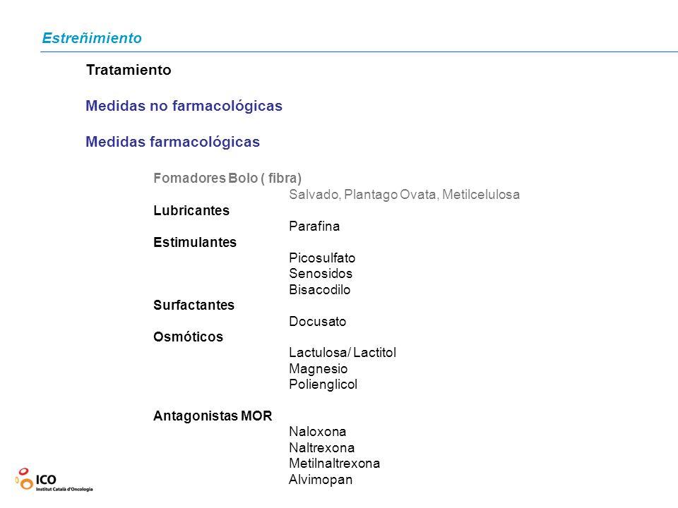 Estreñimiento Tratamiento Medidas no farmacológicas Medidas farmacológicas Fomadores Bolo ( fibra) Salvado, Plantago Ovata, Metilcelulosa Lubricantes