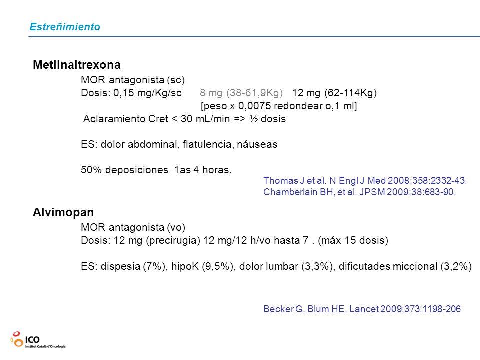 Estreñimiento Metilnaltrexona MOR antagonista (sc) Dosis: 0,15 mg/Kg/sc 8 mg (38-61,9Kg) 12 mg (62-114Kg) [peso x 0,0075 redondear o,1 ml] Aclaramient