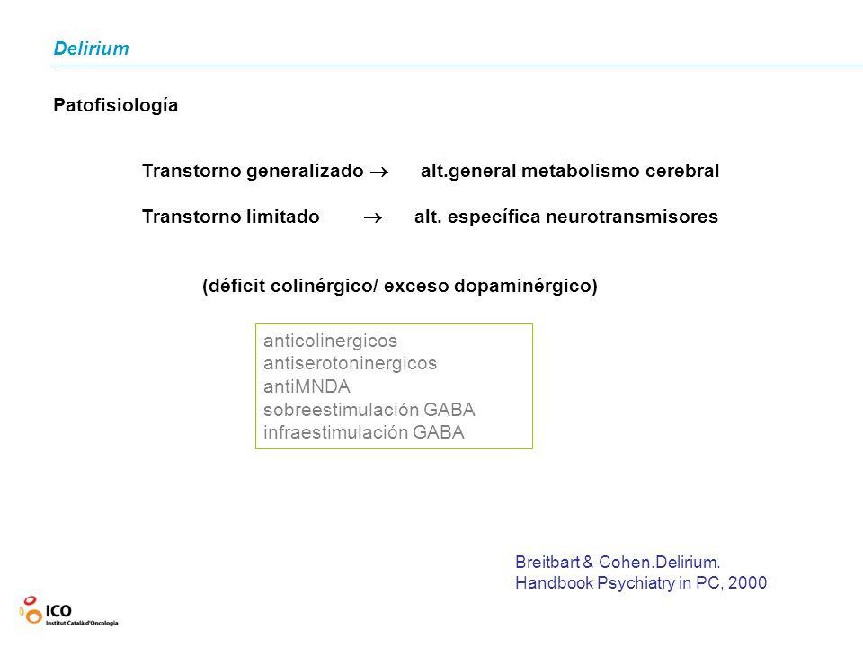 Delirium Transtorno generalizado alt.general metabolismo cerebral Transtorno limitado alt. específica neurotransmisores anticolinergicos antiserotonin