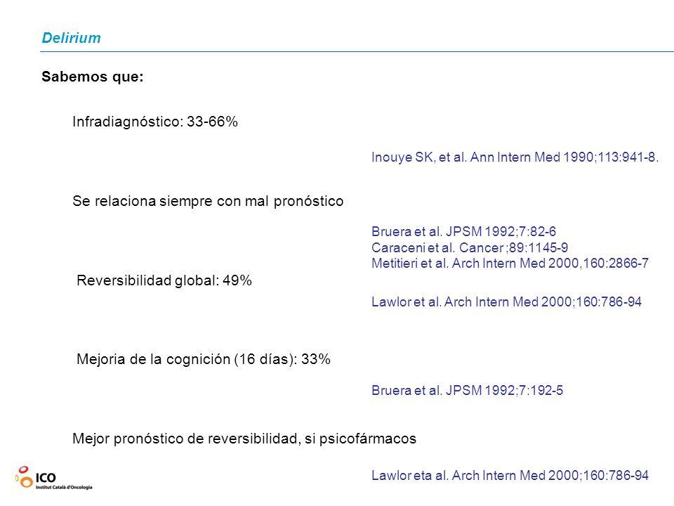 Delirium Sabemos que: Infradiagnóstico: 33-66% Se relaciona siempre con mal pronóstico Reversibilidad global: 49% Mejoria de la cognición (16 días): 3