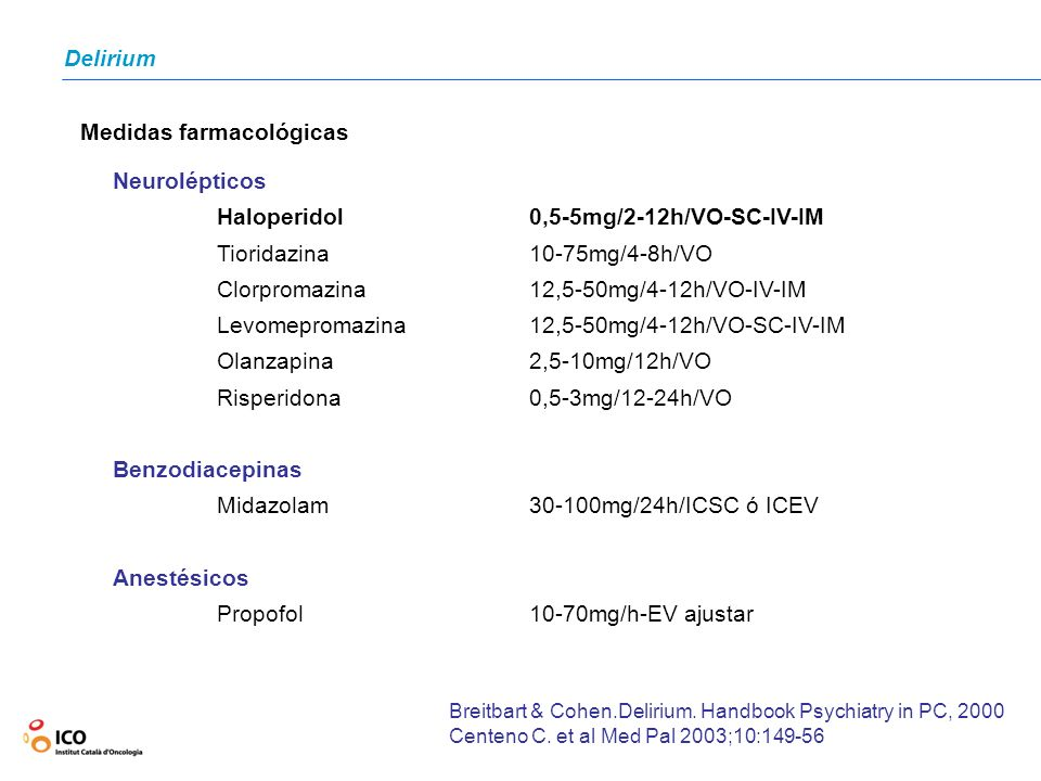 Medidas farmacológicas Neurolépticos Haloperidol0,5-5mg/2-12h/VO-SC-IV-IM Tioridazina10-75mg/4-8h/VO Clorpromazina12,5-50mg/4-12h/VO-IV-IM Levomeproma