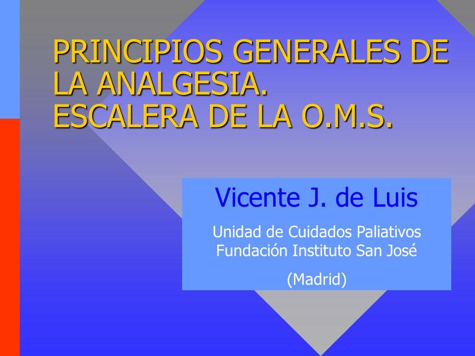 PRINCIPIOS GENERALES DE LA ANALGESIA.ESCALERA DE LA O.M.S.