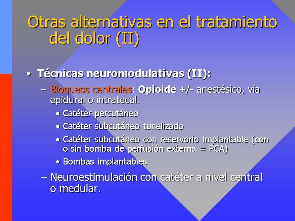 Otras alternativas en el tratamiento del dolor (II) Técnicas neuromodulativas (II):Técnicas neuromodulativas (II): –Bloqueos centrales: Opioide +/- anestésico, vía epidural o intratecal.