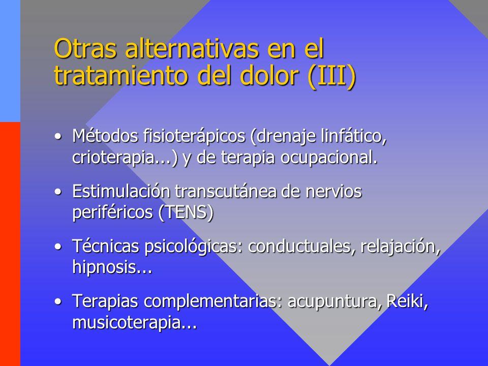 Otras alternativas en el tratamiento del dolor (III) Métodos fisioterápicos (drenaje linfático, crioterapia...) y de terapia ocupacional.Métodos fisioterápicos (drenaje linfático, crioterapia...) y de terapia ocupacional.