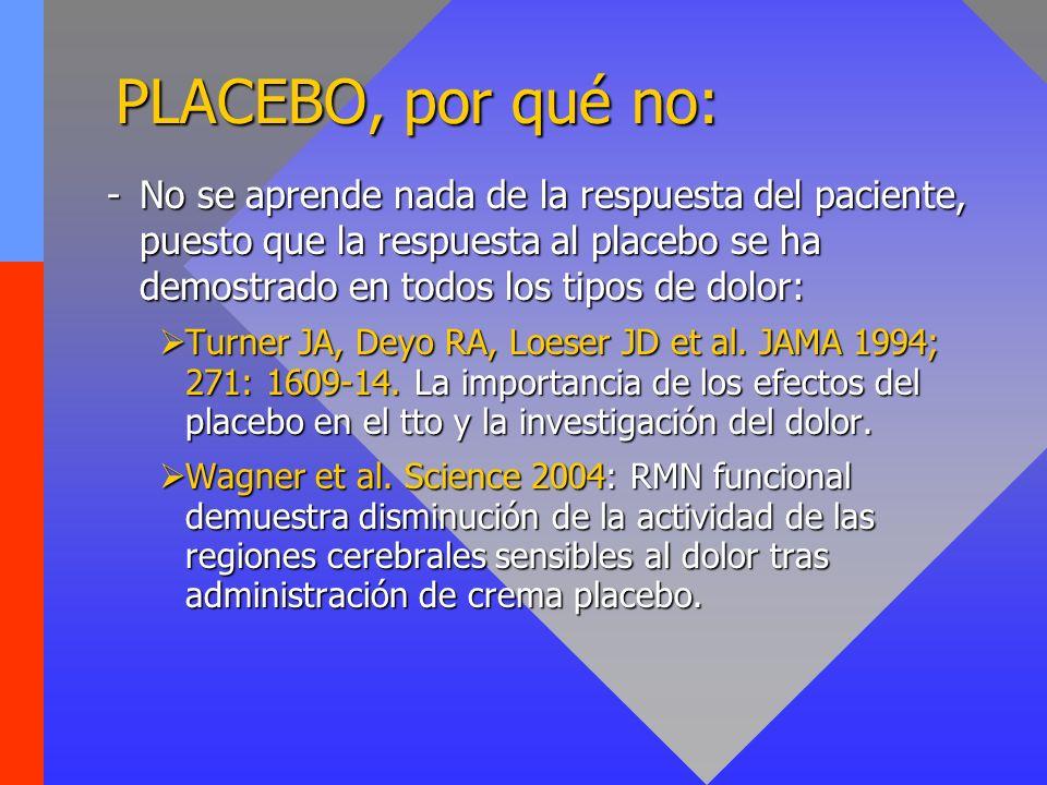 PLACEBO, por qué no: -No se aprende nada de la respuesta del paciente, puesto que la respuesta al placebo se ha demostrado en todos los tipos de dolor: Turner JA, Deyo RA, Loeser JD et al.