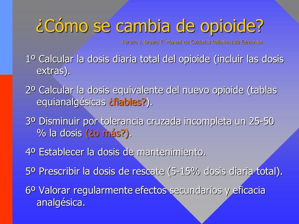 ¿Cómo se cambia de opioide? Pereira J, Bruera E. Manual de Cuidados Paliativos de Edmonton 1º Calcular la dosis diaria total del opioide (incluir las