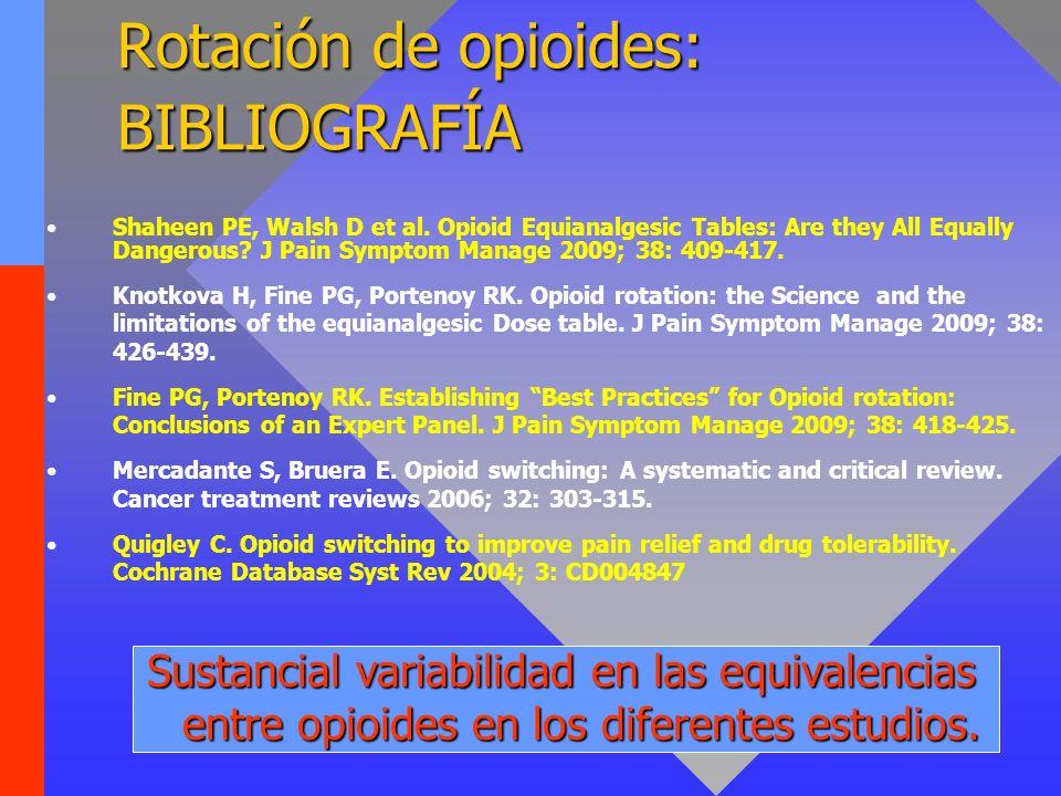 Rotación de opioides: BIBLIOGRAFÍA Shaheen PE, Walsh D et al. Opioid Equianalgesic Tables: Are they All Equally Dangerous? J Pain Symptom Manage 2009;