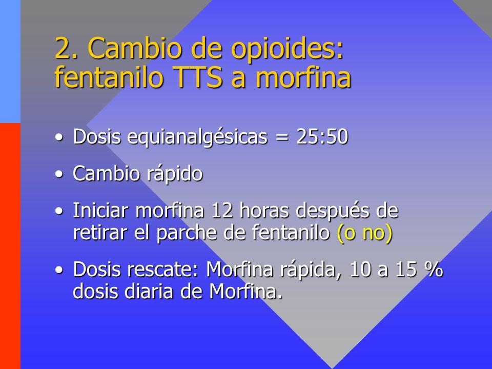 2. Cambio de opioides: fentanilo TTS a morfina Dosis equianalgésicas = 25:50Dosis equianalgésicas = 25:50 Cambio rápidoCambio rápido Iniciar morfina 1
