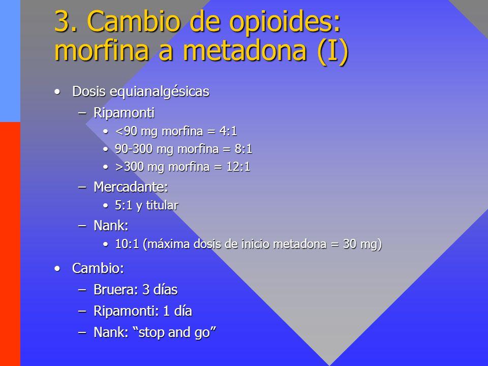 3. Cambio de opioides: morfina a metadona (I) Dosis equianalgésicasDosis equianalgésicas –Ripamonti <90 mg morfina = 4:1<90 mg morfina = 4:1 90-300 mg