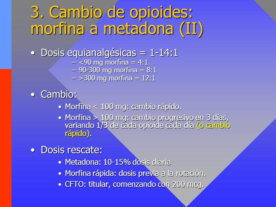 3. Cambio de opioides: morfina a metadona (II) Dosis equianalgésicas = 1-14:1Dosis equianalgésicas = 1-14:1 –<90 mg morfina = 4:1 –90-300 mg morfina =