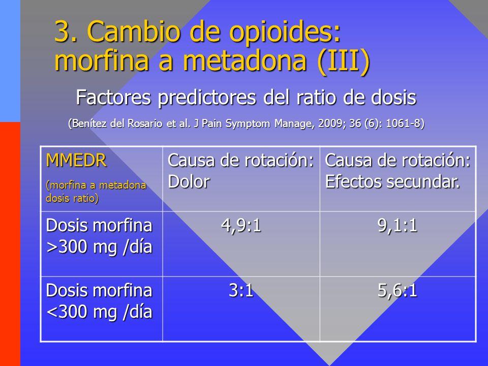 3. Cambio de opioides: morfina a metadona (III) Factores predictores del ratio de dosis (Benítez del Rosario et al. J Pain Symptom Manage, 2009; 36 (6