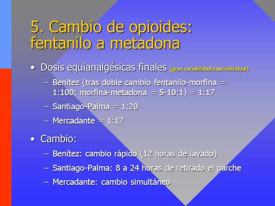 5. Cambio de opioides: fentanilo a metadona Dosis equianalgésicas finales (gran variabilidad interindividual)Dosis equianalgésicas finales (gran varia