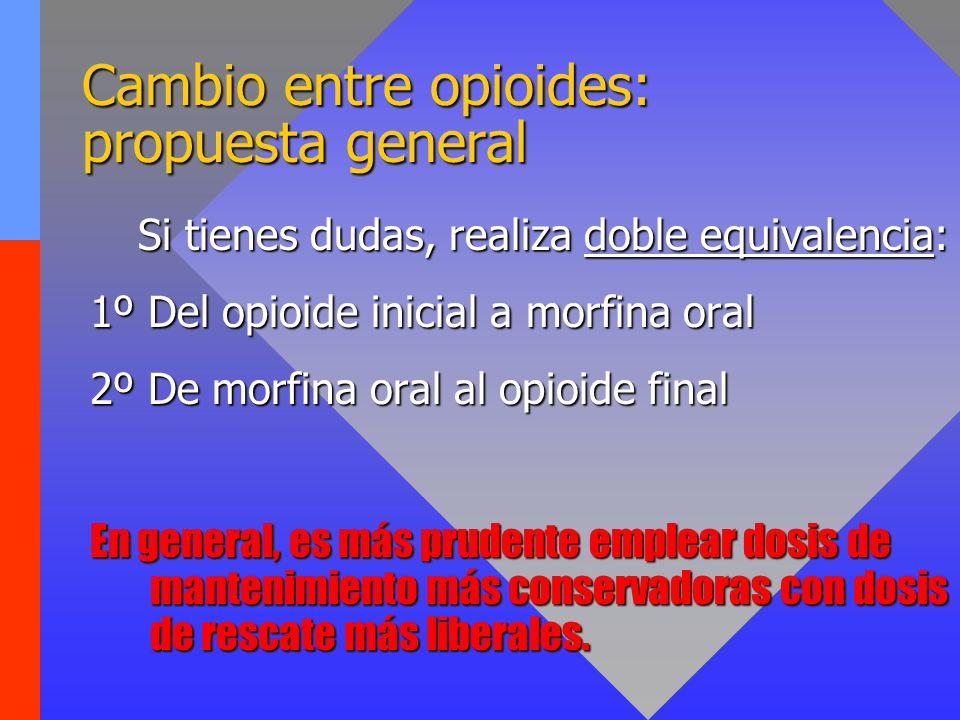 Cambio entre opioides: propuesta general Si tienes dudas, realiza doble equivalencia: 1º Del opioide inicial a morfina oral 2º De morfina oral al opio