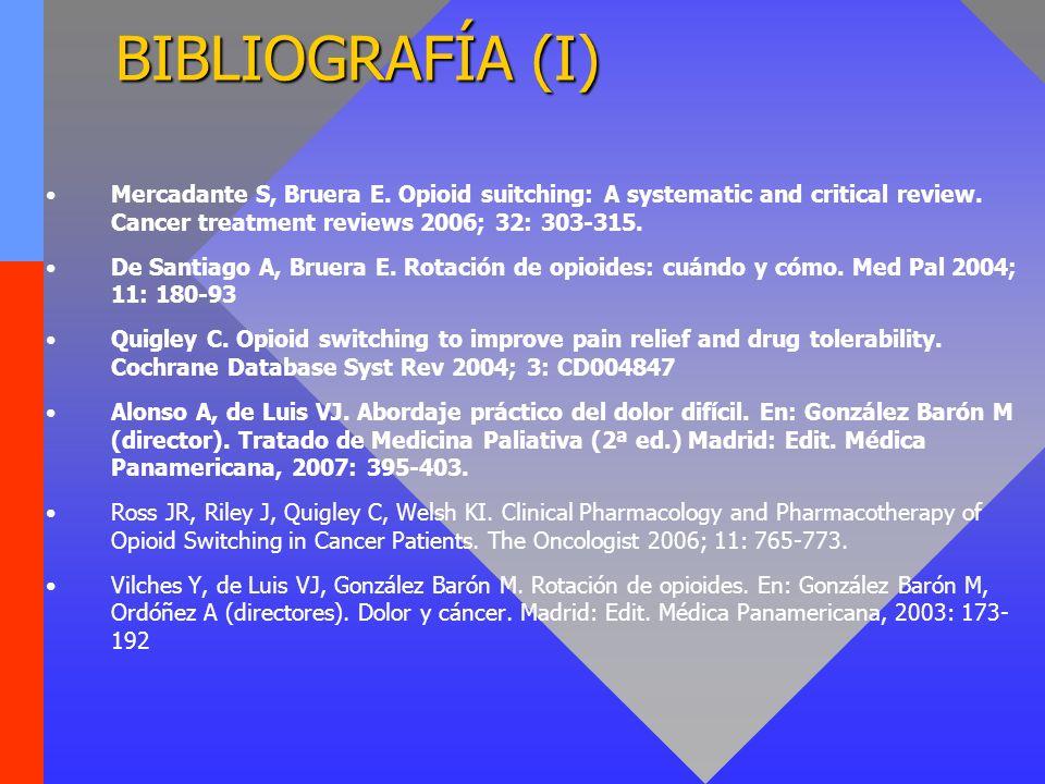 BIBLIOGRAFÍA (I) Mercadante S, Bruera E. Opioid suitching: A systematic and critical review. Cancer treatment reviews 2006; 32: 303-315. De Santiago A