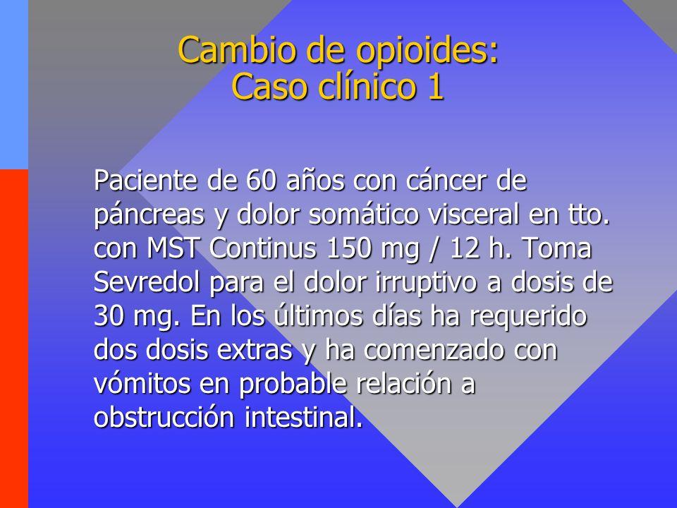 Cambio de opioides: Caso clínico 1 Paciente de 60 años con cáncer de páncreas y dolor somático visceral en tto. con MST Continus 150 mg / 12 h. Toma S