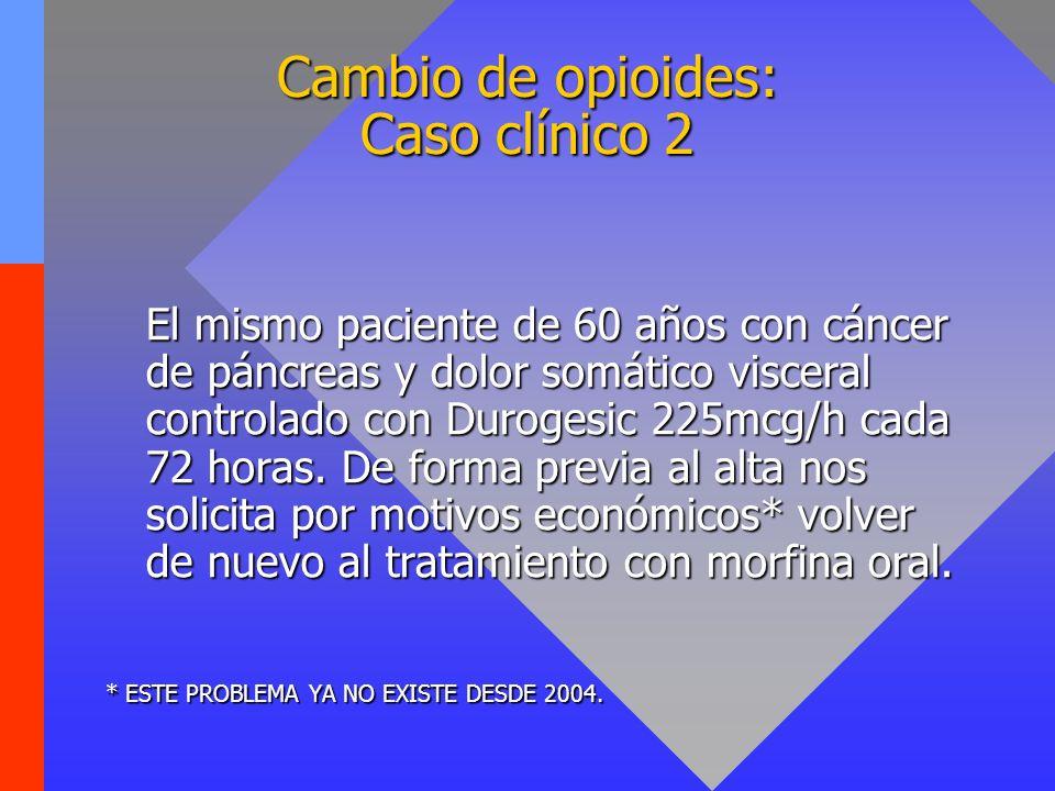 Cambio de opioides: Caso clínico 2 El mismo paciente de 60 años con cáncer de páncreas y dolor somático visceral controlado con Durogesic 225mcg/h cad