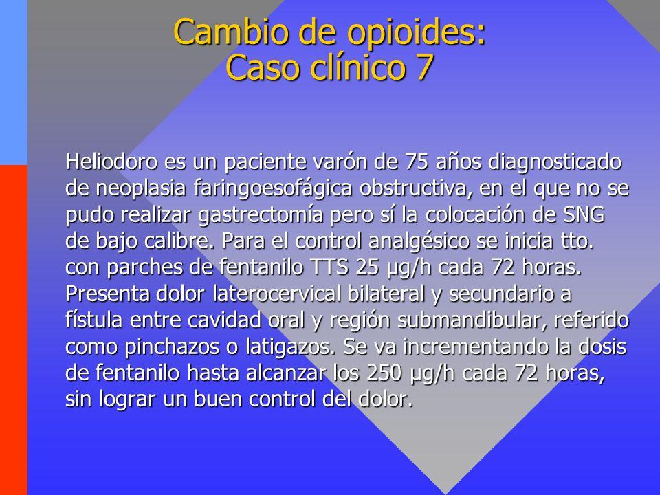 Cambio de opioides: Caso clínico 7 Heliodoro es un paciente varón de 75 años diagnosticado de neoplasia faringoesofágica obstructiva, en el que no se