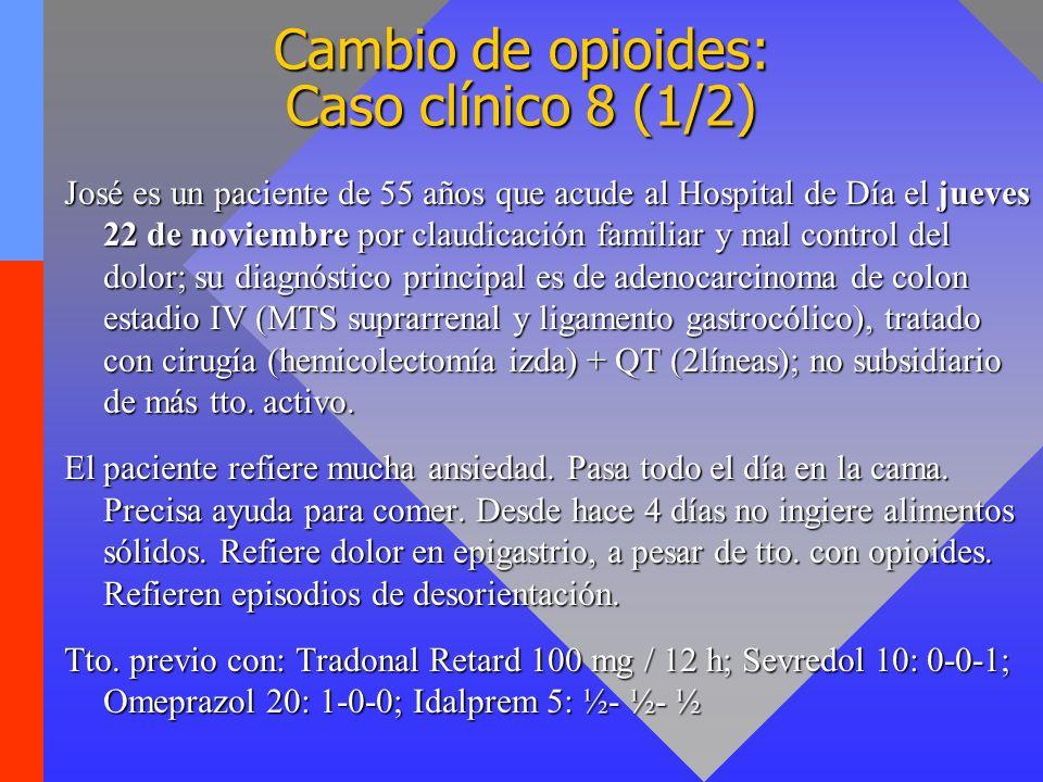 Cambio de opioides: Caso clínico 8 (1/2) José es un paciente de 55 años que acude al Hospital de Día el jueves 22 de noviembre por claudicación famili