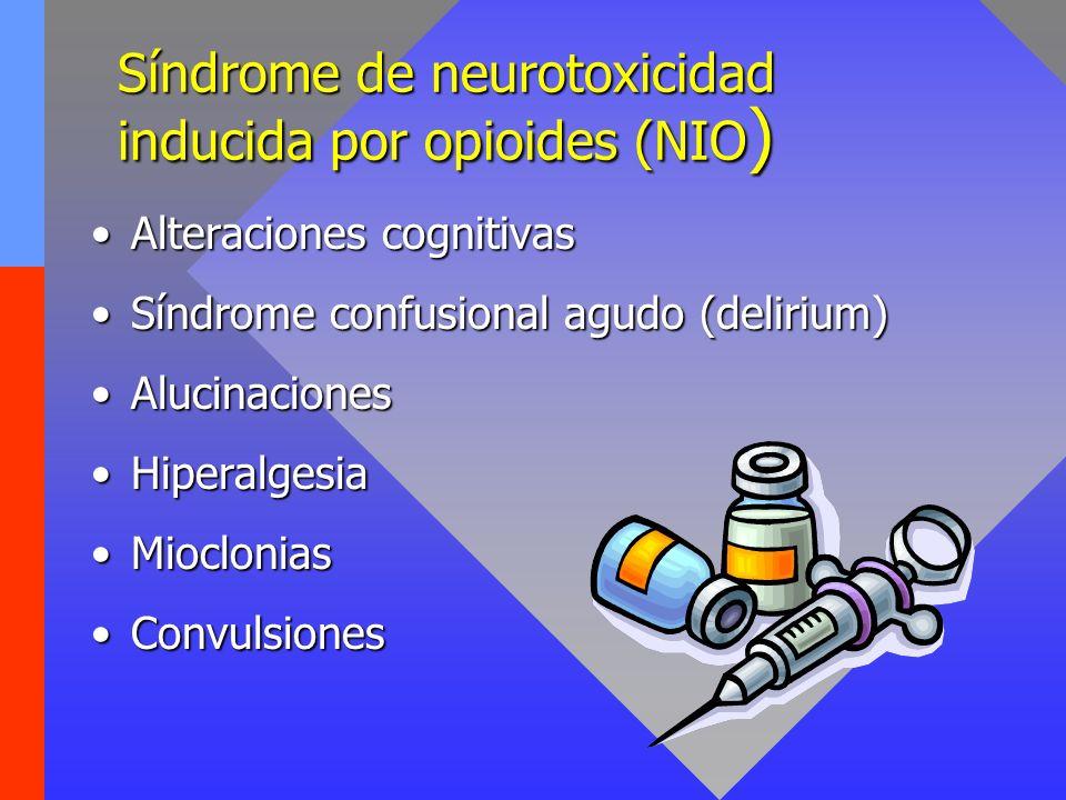 Síndrome de neurotoxicidad inducida por opioides (NIO ) Alteraciones cognitivasAlteraciones cognitivas Síndrome confusional agudo (delirium)Síndrome c