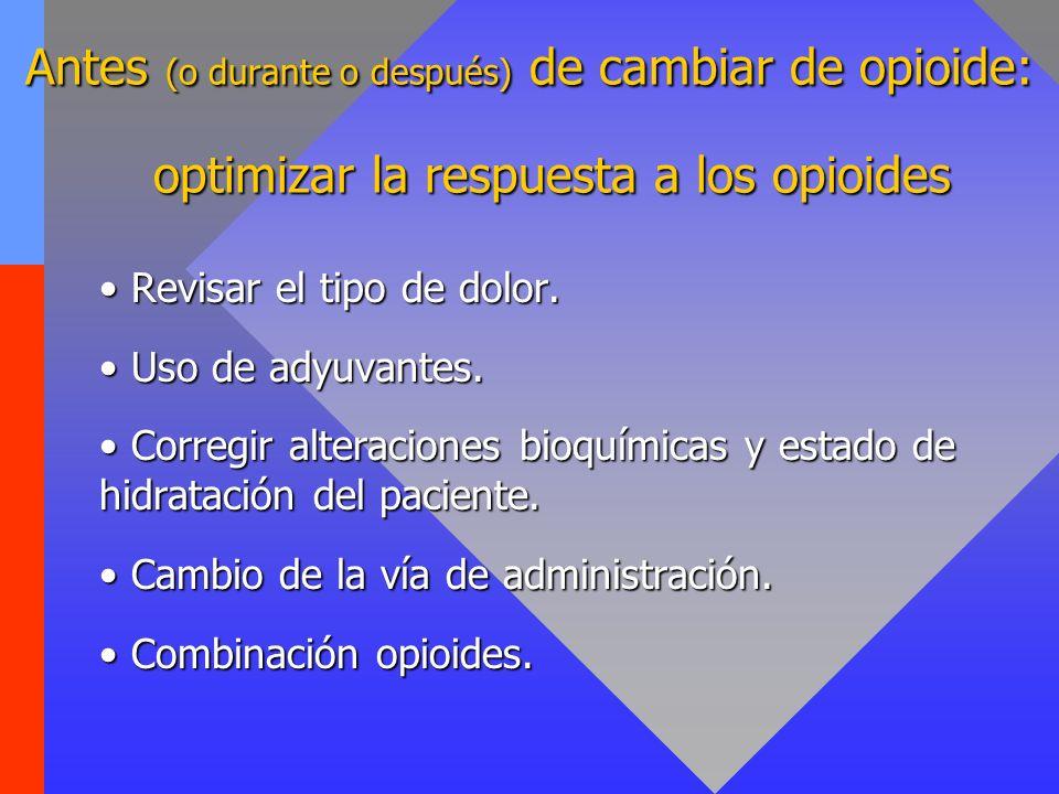 Antes (o durante o después) de cambiar de opioide: Revisar el tipo de dolor. Revisar el tipo de dolor. Uso de adyuvantes. Uso de adyuvantes. Corregir