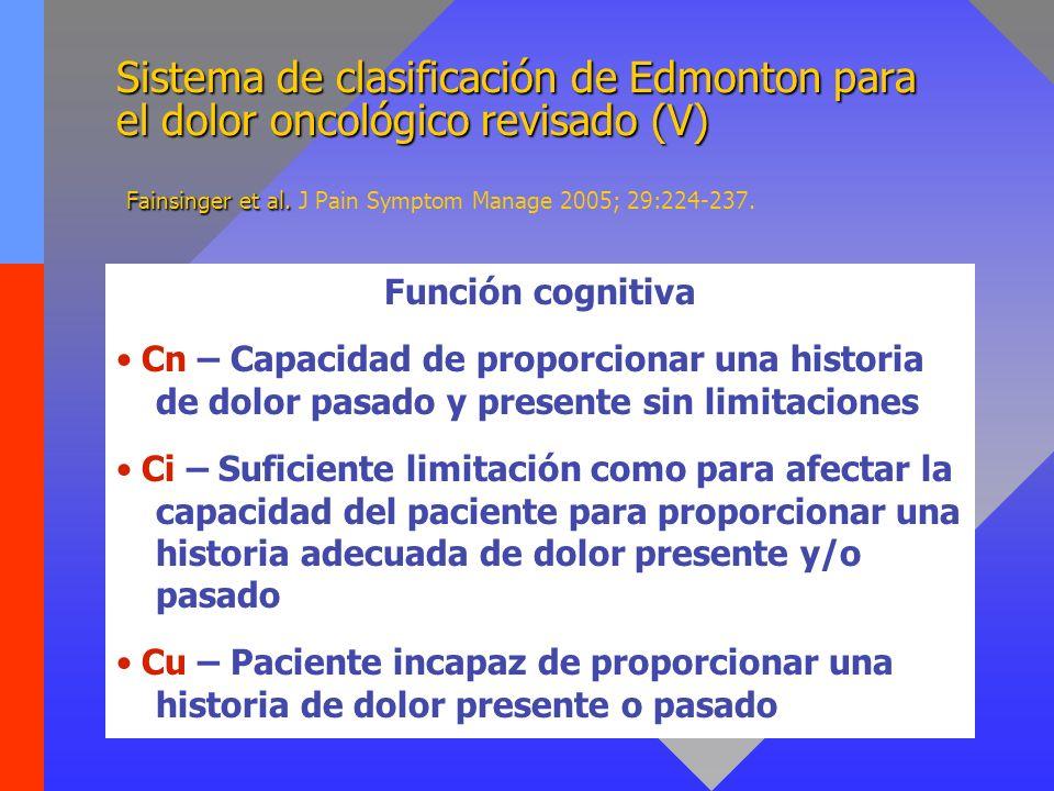 Sistema de clasificación de Edmonton para el dolor oncológico revisado (V) Fainsinger et al. Sistema de clasificación de Edmonton para el dolor oncoló