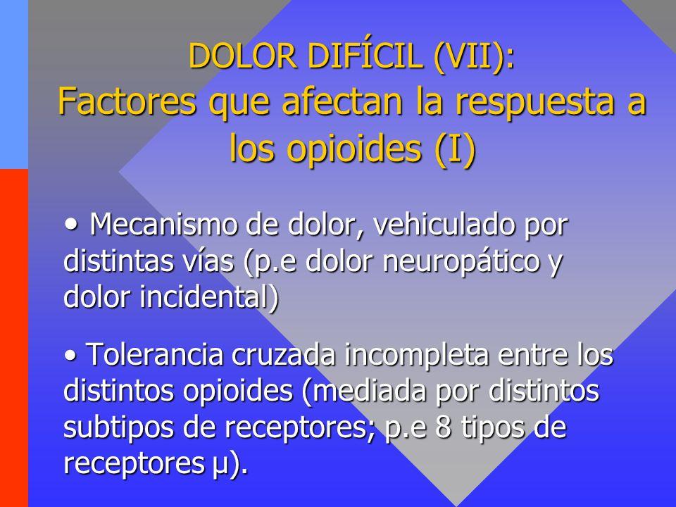DOLOR DIFÍCIL (VII): Factores que afectan la respuesta a los opioides (I) Mecanismo de dolor, vehiculado por distintas vías (p.e dolor neuropático y d