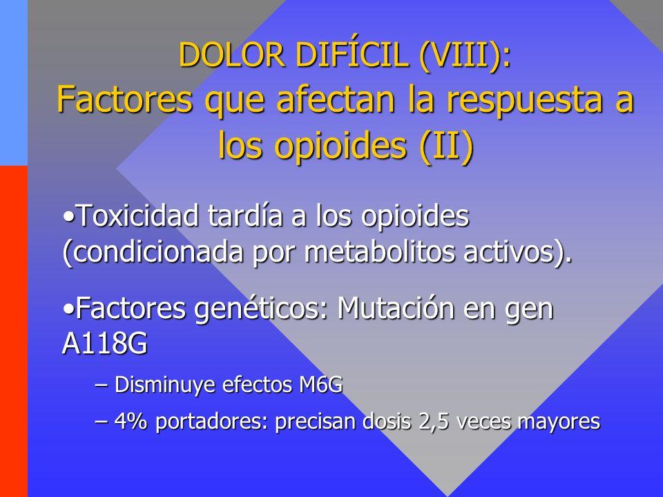 DOLOR DIFÍCIL (VIII): Factores que afectan la respuesta a los opioides (II) Toxicidad tardía a los opioides (condicionada por metabolitos activos).Tox