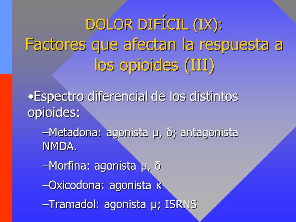 DOLOR DIFÍCIL (IX): Factores que afectan la respuesta a los opioides (III) Espectro diferencial de los distintos opioides:Espectro diferencial de los