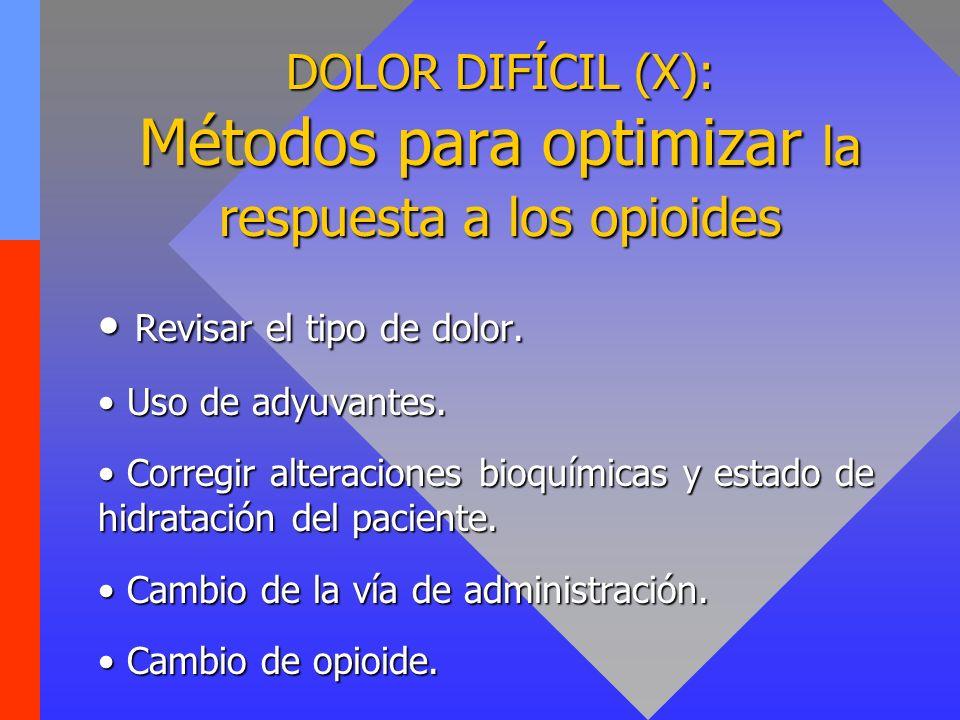 DOLOR DIFÍCIL (X): Métodos para optimizar la respuesta a los opioides Revisar el tipo de dolor. Revisar el tipo de dolor. Uso de adyuvantes. Uso de ad