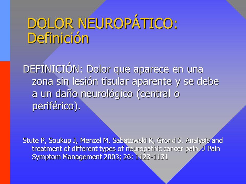 DEFINICIÓN: Dolor que aparece en una zona sin lesión tisular aparente y se debe a un daño neurológico (central o periférico). Stute P, Soukup J, Menze