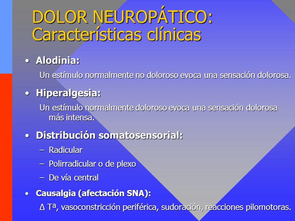 Alodinia:Alodinia: Un estímulo normalmente no doloroso evoca una sensación dolorosa. Hiperalgesia:Hiperalgesia: Un estímulo normalmente doloroso evoca